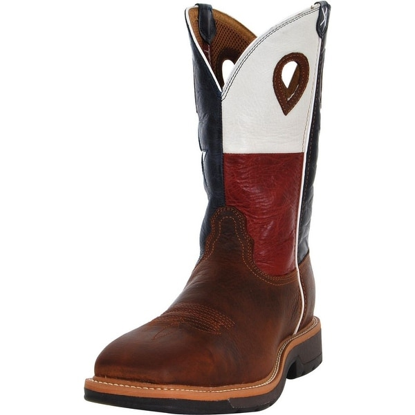 Twisted X Work Boots Mens Leather Lite Texas Flag Brown