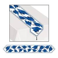 Club Pack of 12 Blue Celebration Grad Cap Table Runner 6' - White