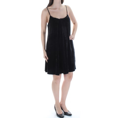 Womens Black Spaghetti Strap Above The Knee Shift Cocktail Dress Size: S