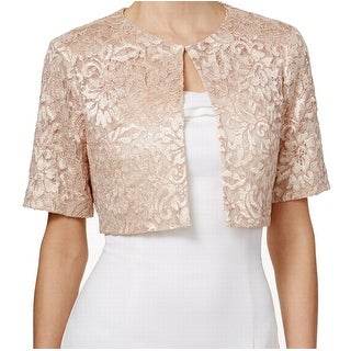 Calvin Klein NEW Pink Blush Women Size Small S Lace Sequin Shrug Jacket