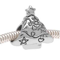 Silver Tone Double Sided Decorated Christmas Tree European Style Large Hole Bead (1)