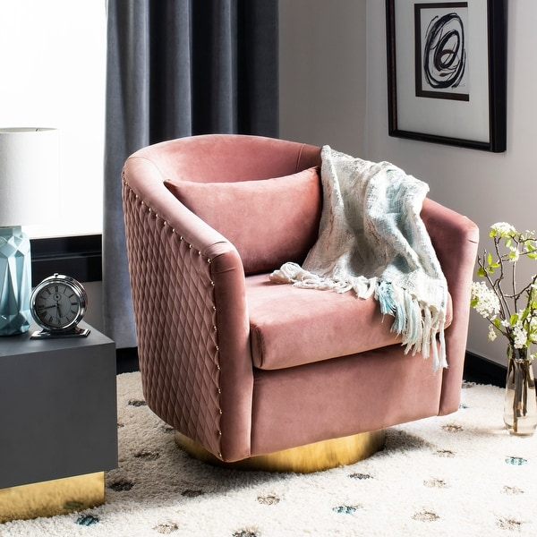 """SAFAVIEH Couture Clara Quilted Swivel Tub Chair- Dusty Rose / Gold - 29.9"""" W x 31.7"""" L x 29.7"""" H. Opens flyout."""