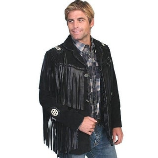 Scully Western Coat Mens Leather Concho Button Fringe Bead Onyx 758-19