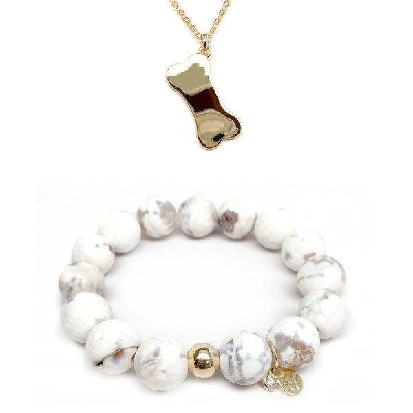 White Agate Bracelet & Dog Bone Gold Charm Necklace Set