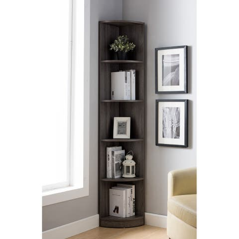 Q-Max 5 Tier Corner Bookcase, Wooden Display Shelf Storage Rack, Multipurpose Shelving Unit for Living Room, Home, Office