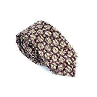 Luigi Borrelli Napoli Mens Burgundy Wool Blend Geometric Tie - M