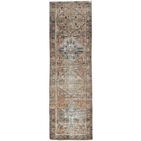 """Shahbanu Rugs Vintage Brown Persian Heriz Worn Down Clean Hand Knotted Pure Wool Oriental Runner Rug (3'2"""" x 10'0"""")"""
