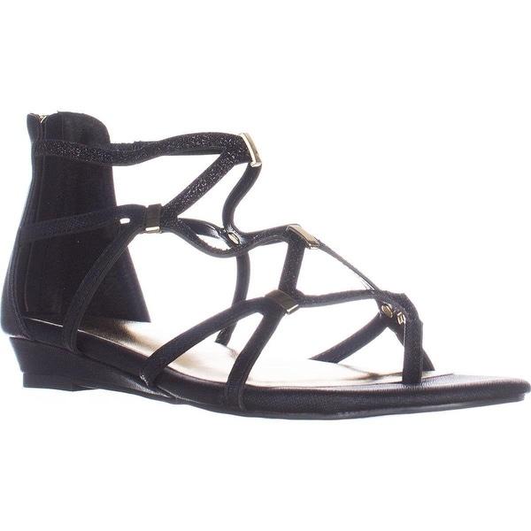 Thalia TS35 Pamella Flat Gladiator Sandals - Black Metallic - 7