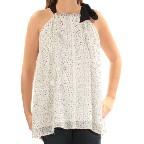 CYNTHIA ROWLEY Womens Ivory Tie Floral Sleeveless Square Neck Top Size: L