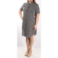 Womens Navy Striped Short Sleeve Knee Length Shirt Dress Size: 7