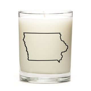 State Outline Soy Wax Candle, Iowa State, Fresh Linen