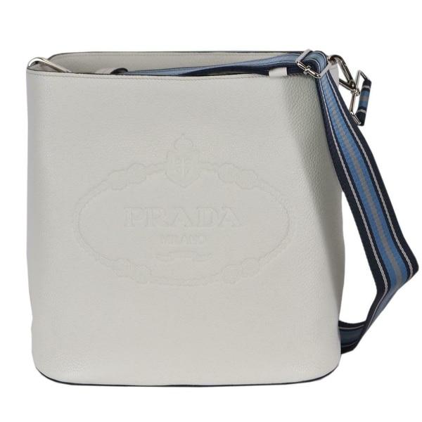 dcc101f361c7 Prada 1BE023 Vitello Secchiello White Leather Embossed Logo Crossbody Purse  - Talco White