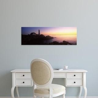 Easy Art Prints Panoramic Images's 'Portland Head Lighthouse built 1791, Cape Elizabeth, Cumberland Maine' Canvas Art