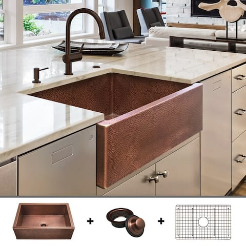 Heavy 12-GAUGE Luxury 30-Inch Copper Farmhouse Sink (48 LBS of Pure Copper), Includes Grid and Flange, by Fossil Blu - 30 x 22