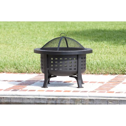 """Fire Sense 62240 30"""" Wide Wood Burning Fire Pit with Cooking Grate - - Black Powder Coated"""