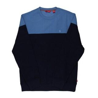 Izod Mens Fleece Colorblock Sweatshirt, Crew - S