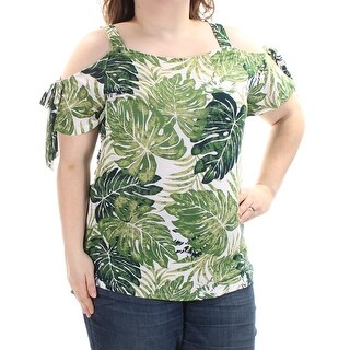 INC $59 Womens New 1039 Green Floral Cold Shoulder Square Neck Top XXL B+B