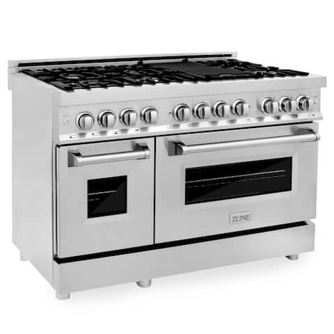 "ZLINE 48"" Gas Burner/Electric Oven Range in Stainless Steel (RA48)"