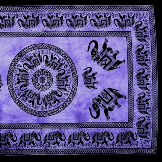 Handmade 100% Cotton Mandala Elephant Tapestry Tablecloth Coverlet 60x90 Purple Twin