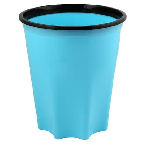 Bathroom Kitchen Plastic Octagonal Base Garbage Trash Can Storage Container Blue