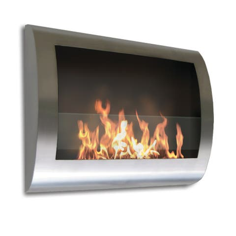 Chelsea (Stainless Steel) Wall Mount Bio Ethanol Ventless Fireplace - Stainless Steel