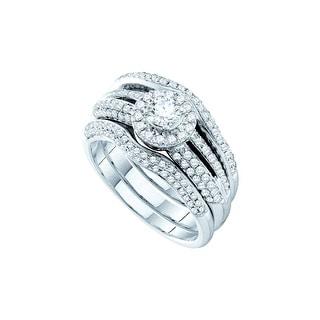 1 Ct Diamond 1/3Ct Center Round Bridal Set White-Gold 14K