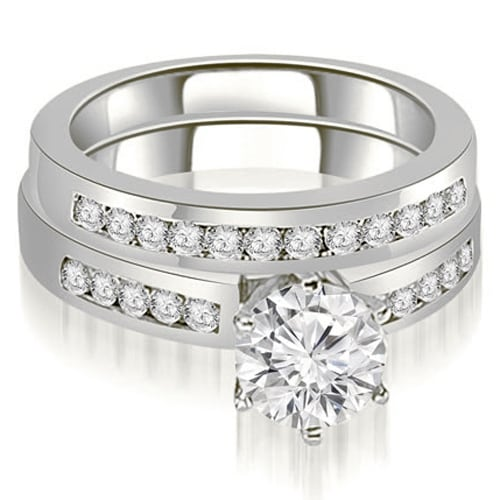 1.55 cttw. 14K White Gold Channel Set Round Cut Diamond Bridal Set