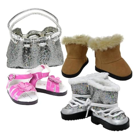 18 Inch Doll Clothes Accessory, Silver Handbag with 3 Pairs of Shoes, Fits American Girl Dolls