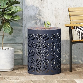 Link to Castana Outdoor Lace Cut Side Table with Tile Top by Christopher Knight Home Similar Items in Outdoor Decor