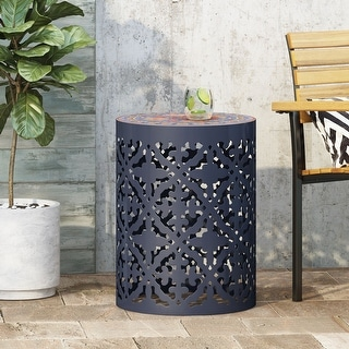 Link to Castana Outdoor Lace Cut Side Table with Tile Top by Christopher Knight Home Similar Items in Outdoor Coffee & Side Tables