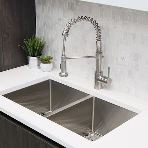 Single-Handle Pull-Down Sprayer Kitchen Faucet with Spring Design in Brushed Nickel