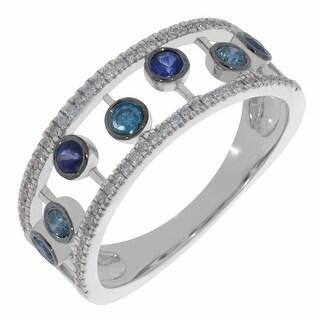 Prism Jewel 0.53CT Blue Sapphire with Blue & White Diamond Wedding Band
