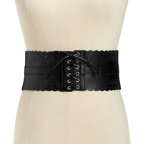 INC International Concepts Women's Perforated Corset Belt Black Size Extra Large - X-Large