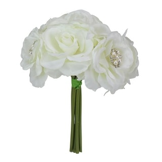 """9"""" White and Green Decorative Rose with Pearls and Rhinestones Artificial Spring Floral Bouquet - N/A"""