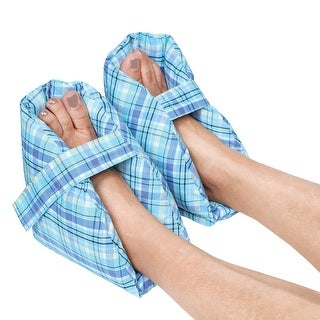 Plush Foot Pillows - Heel Protectors Cushions Pain Relief - 1 Pair - Plaid