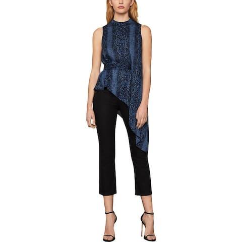BCBG Max Azria Womens Blouse Sleeveless Snake Print - Pacific Blue Python