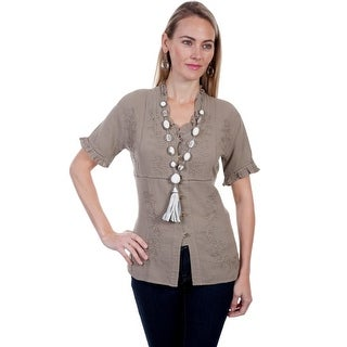 Scully Western Shirt Womens S/S Empire Button Ruffle Neck PSL-199