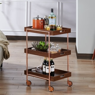 Link to The Curated Nomad Highland Contemporary Walnut Kitchen Cart Similar Items in Home Bars