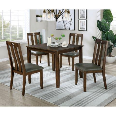 Furniture of America Tins Transitional Walnut 5-piece Dining Set