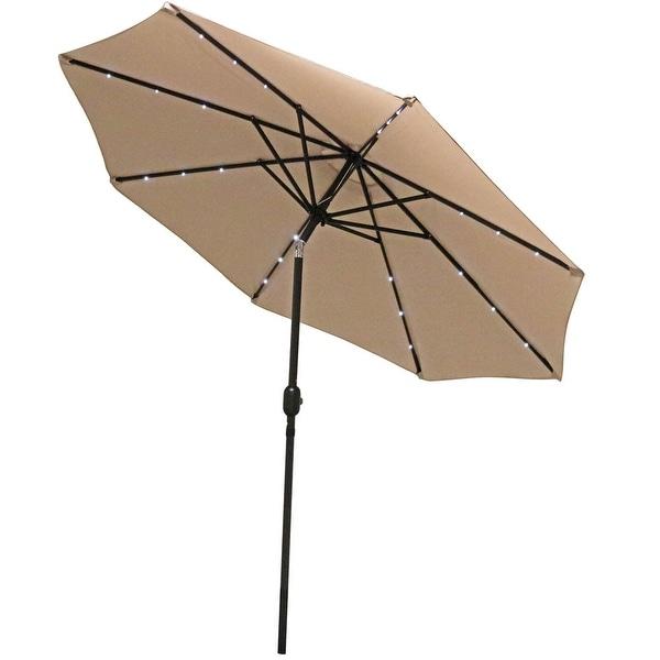 Sunnydaze Aluminum 9 Foot Solar Patio Umbrella with Tilt & Crank