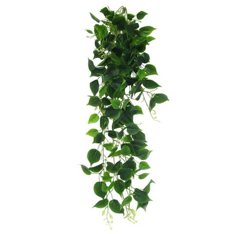 "Philodendron Leaf Ivy Hanging Greenery Bush UV Resistant Indoor Outdoor 49in - 49"" L x 15"" W x 9"" DP"