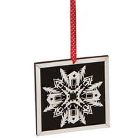 "5"" Alpine Chic Country Rustic Style Black and White Glittered Snowflake Framed  Christmas Ornament"