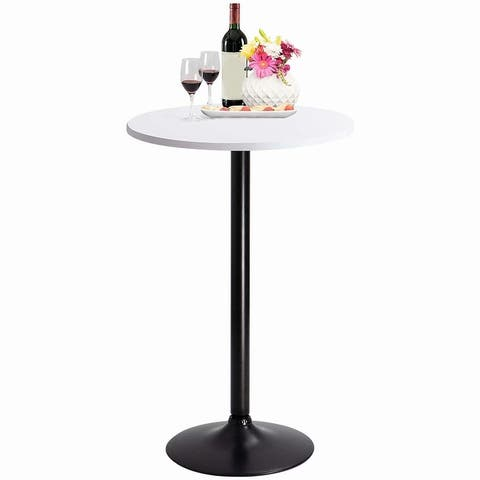Homall Bistro Pub Table Round Bar Height Cocktail Table Metal Base MDF Top Obsidian Table with Black Leg 23.8inch Top - N/A
