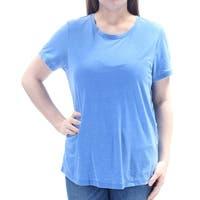 TOMMY HILFIGER Womens Blue Short Sleeve Jewel Neck Hi-Lo Top  Size: M