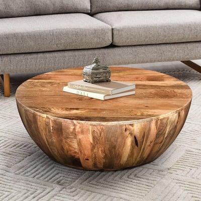 Round Dark Brown Mango Wood Coffee Table