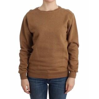 Galliano Brown crewneck cotton sweater