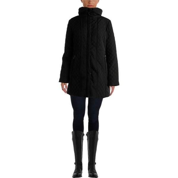 Jones New York Womens Coat Quilted Hooded