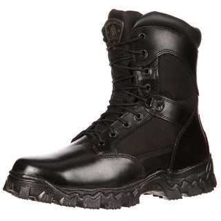 "Rocky Work Boots Mens 8"" Alpha Force Leather Waterproof Black RKYD011"