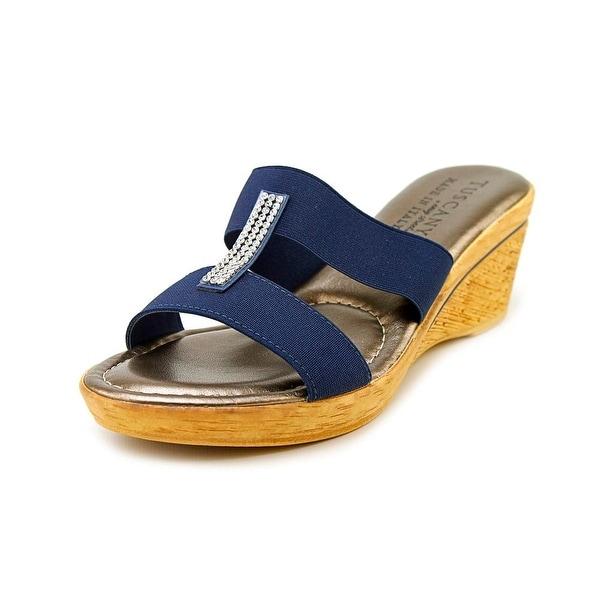 Easy Street Napoli Women Open Toe Canvas Blue Wedge Sandal