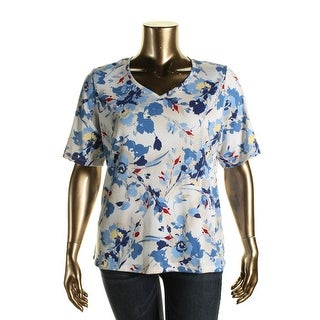 Karen Scott Womens Plus Floral Print V-Neck Pullover Top